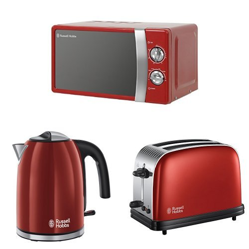 Russell Hobbs 17 L, 700 W Manual Microwave with Colours Plus Kettle, 3000 W, 1.7 L and Colours Plus 2-Slice Toaster, Red