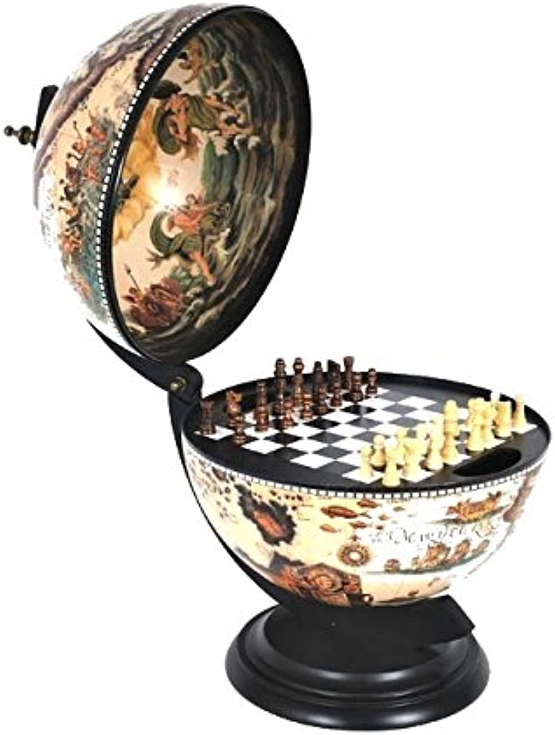 Old Modern Handicrafts Globe with Chess Holder, 13-Inch, White