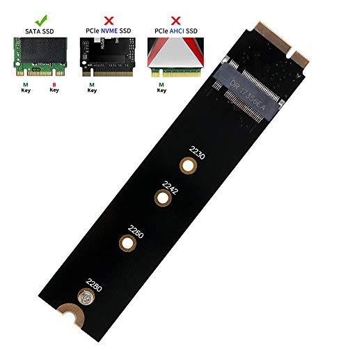QNINE M.2 NGFF SATA auf A1465 A1466 Adapter für 2012 MacBook Air SSD Ersatz, Unterstützung für Festplatten Konverterkarte 2230 2242 2260 2280 SSD