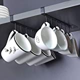 AliCH 2pcs Mug Hooks Under Cabinet Mug Holder Rack,Nail Free Adhesive Coffee Cups Holder Hanger for Cups/Kitchen Utensils/Ties Belts/Scarf/Keys Storage, Fit for 0.8inch Thickness Shelf or Less (Black)