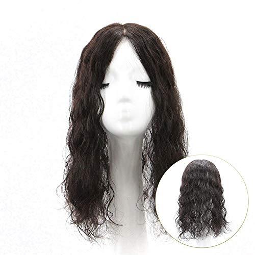 Souple Fashian Femmes Longs Cheveux Bouclés Moelleux Clip Naturel En Véritable Couverture de Cheveux Humains Blanc Pièce De Rechange fashion (Color : [7x10] 30cm dark brown)