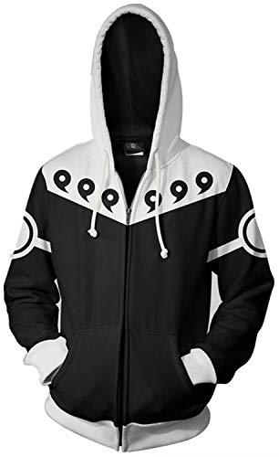 Herren Kapuzenpullover 3D Naruto, Anime, Bedruckt, Durchgehender Reißverschluss, Übergröße, Cosplay, lustige Kapuze, leicht, Outwear für Herren und Teenager mit Kango-Taschen