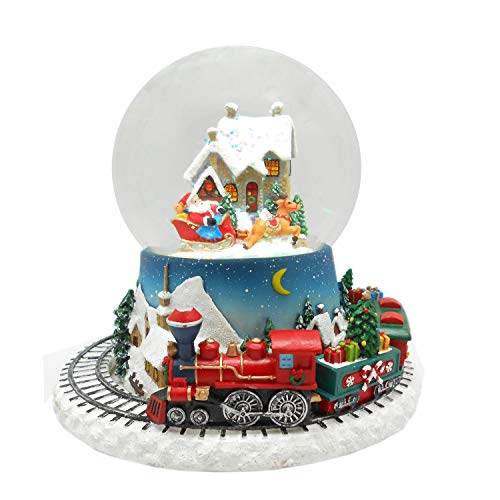 Lightahead Musical Christmas Santa on his Sleigh Figurine Water Ball Snow Globe with The Inside Figurine and Outside Train Revolving in Polyresin