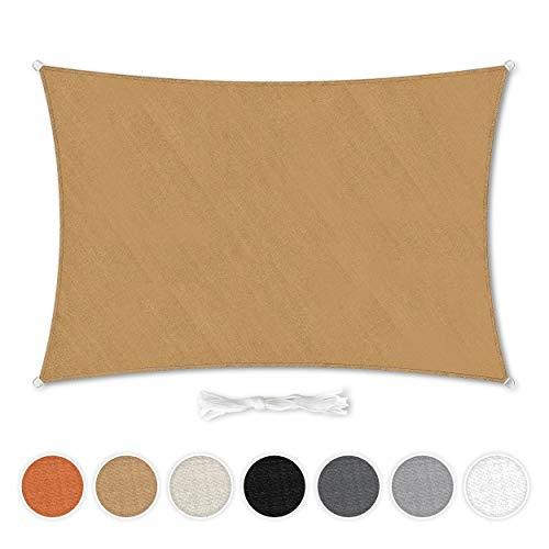 Hometex Premium Textiles Sonnensegel 5×7m Rechteckig inkl. Befestigungseile | Sand | Sonnenschutz ideal für Garten, Terrasse, Balkon, Camping | Wind- & wasserabweisender Schattenspender