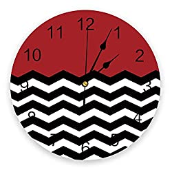 10 Inch Chic Round Wall Clock - Red White Black Chevron Art Creative Wall Clocks Battery Operated Non Ticking Silent Wall Clock Zig Zag Pattern Print PVC Clock for Bedroom Hotel Home Office School