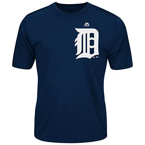 Detroit Tigers Adult XL Wicking MLB Licensed Authentic Replica Crewneck T-Shirt Navy Blue