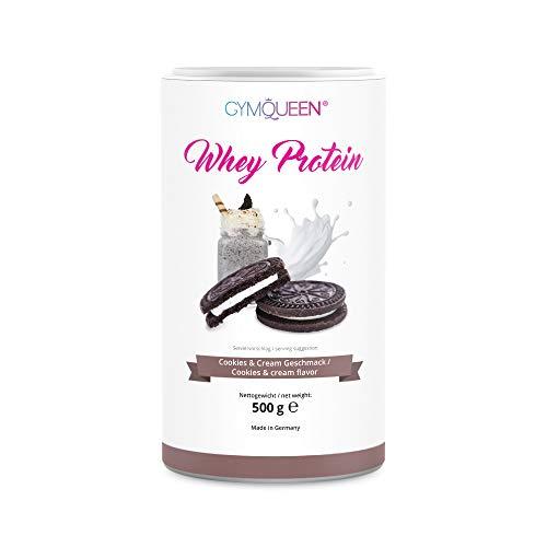 GymQueen Whey Protein-Pulver Cookies&Cream 500g, Protein-Shake für die Fitness, Whey-Pulver kann den Muskelaufbau unterstützen, Hochwertiges Eiweiss-Pulver mit 72g Eiweiß, Kalorienarm & Aspartamfrei