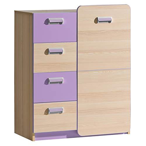 Furniture24 Kommode LORENTO L6 Schubladenkommode mit Tür und 4 Schubladen Kinder Schrank (Esche Coimbra/Lila)