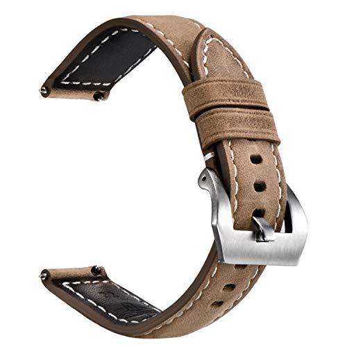 Cinturino per orologio in pelle a sgancio rapido per orologi digitali e analogici, cinturini per orologi vintage da uomo e donna Dimensioni 20mm22mm24mm con cinture nere, marrone chiaro marrone scuro