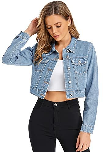 MISS MOLY Jeansjacke Damen Kurz Jeans Jacken Übergangsjacke Denim Jacket Hellblau Large