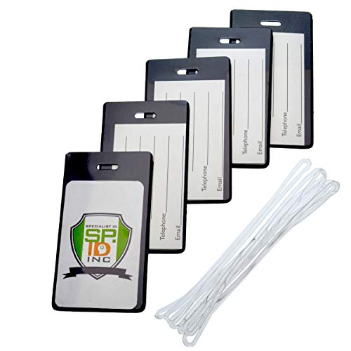 5 Pack - Slim and Sturdy Flexible Backpack & Airline Luggage ID Bag Tags - Business Card Holders - with Secure Plastic Worm Loop Straps by Specialist ID (Black)
