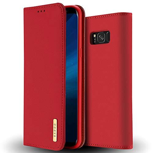 Radoo Cover Samsung Galaxy S8 Plus, Custodia Portafoglio in Vera Pelle Ultra Slim Body Protettiva con Carta Fessura & Funzione Stand & TPU Antiurto Flip Cover a Libro per Samsung Galaxy S8 Plus(Rosso)