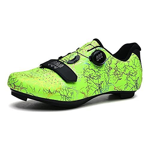 MTB Zapatos para hombre y mujer bicicleta de carretera Ciclismo zapatos compatibles SPD Cleat Equitación Zapatos Azul, Green, 40 2/3 EU