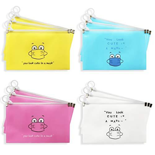 ZoWe 12 Stücke Masken-Aufbewahrungstasche, tragbare Maskentasche Aufbewahrungskoffer für die Gesichtsabdeckung Tragbare Gesichtsabdeckungs Tasche Staubdichte Aufbewahrung