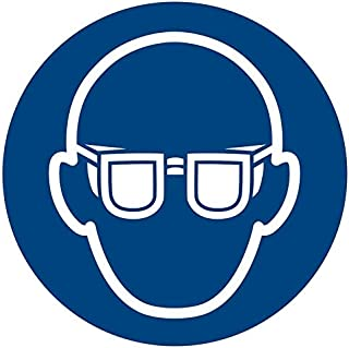 Wear Eye Protection Sticker, Vinyl 4 inches Mandatory Action Sign, ISO 7010 [M004], Pack of 5
