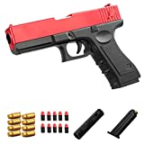 LLZZ Colt 1911 Shell Ejection Soft Bullet Toy Gun,Cool Toys 1911 Toy Gun Soft Ejecting Magazine,Toy Pistol,Toy Gun with Magazine Ejection,1911 Toy Gun 1:1Size with Silencer (Red)