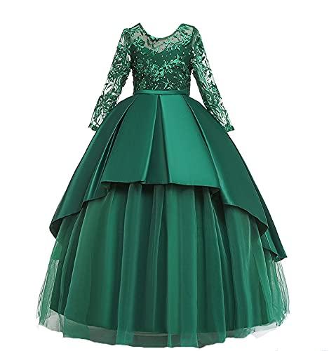 WAWALI Vestido de dama de honor de encaje de manga larga para niñas de flores elegante princesa vestido de fiesta de boda vestidos de baile, verde, 8-9 Años