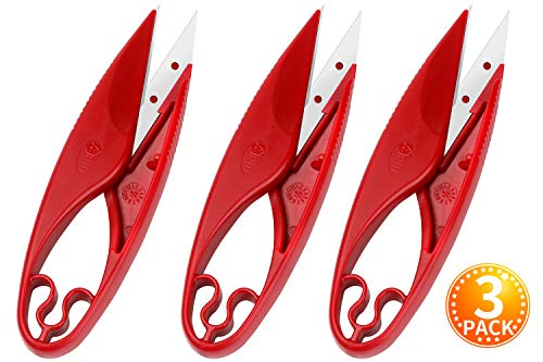 Sewing Snips Thread Cutter Scissors - 3 Pack Yarn Thread Cutter for Tailors Trimming Nipper Quilting Embroidery Clipper Mimi Thread Snips for Arts, Crafts, and DIY Projects (red)