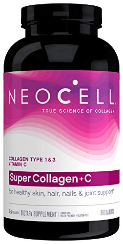 NeoCell Super Collagen with Vitamin C, 360ct Collagen Pills, Non-GMO, Grass Fed, Paleo Friendly, Gluten Free, Collagen Peptides Types 1 & 3 for Hair, Skin, Nails and Joints (Packaging May Vary)