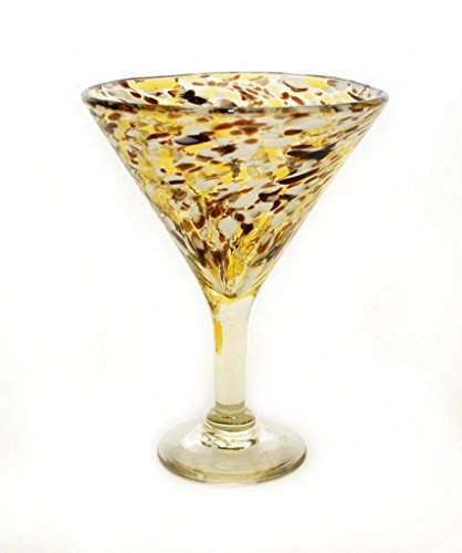 SET OF 4, CHOCOLATE AND WHITE SPOTS CONFETTI MARTINI GLASSES-RECYCLED GLASS-12 OUNCES