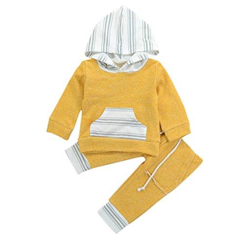 Hirolan Kinderbekleidung Säugling Junge und Mädchen Bekleidungssets Lange Ärmel Mit Kapuze Streifen Sweatshirts Tops + Hosen Outfits Kleider T-Shirt Hoodies Oberteile (90, Gelb)