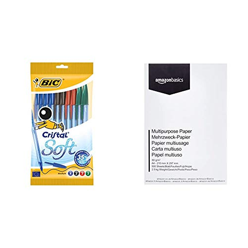 BIC Cristal Soft bolígrafos punta media (1,2 mm) - colores Surtidos, Blíster de 10 unidades & Amazon Basics Papel multiusos para impresora A4 80gsm, 1 paquete, 500 hojas, blanco