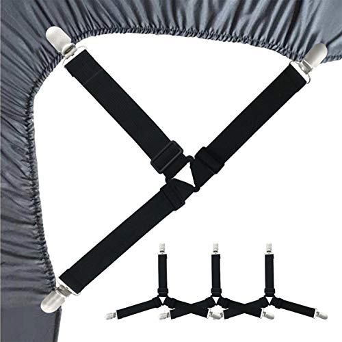 4PCS Bed Sheet Fasteners Adjustable Bed Sheet Holder StrapsTriangle Elastic NonSlip Mattress Corner Clips Suspenders Grippers Heavy Duty for Bedding Sheets Mattress Covers Sofa Cushion Black