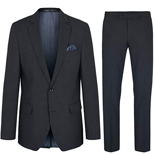 Paul Malone Herren Anzug Regular fit anthrazit Uni - Stretch Maschinenwaschbar - Sakko und Hose Gr. 52