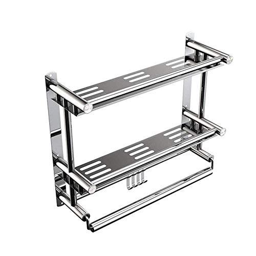 LLKK Estantes de baño sin perforación, estante de ducha de aluminio de 2 niveles, cesta de almacenamiento adhesivo para champú (estante cuadrado)