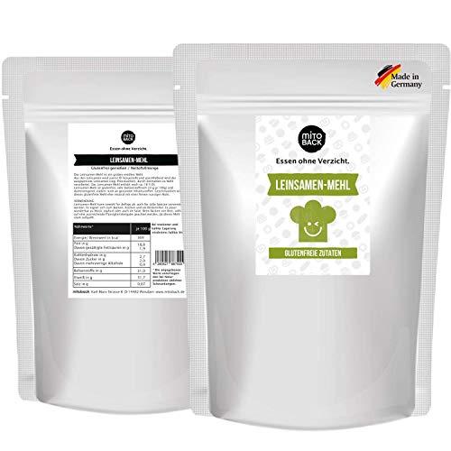 MITOBACK - Leinsamenmehl grob und teilentölt zum Backen in 2 x 400 g Packung - Leinsamen Mehl für Brot & Backwaren - Goldleinsamenmehl geschrotet für eine perfekte Textur: Low Carb, Glutenfrei, Vegan