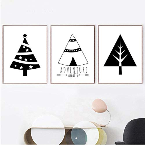 Wohnkultur Leinwand Malerei Nordic Schwarz Weiß Cartoon Zelt Weihnachtsbaum Bilder Wandkunst Drucke Modular Poster Wohnzimmer 30x42cmx3 ungerahmt