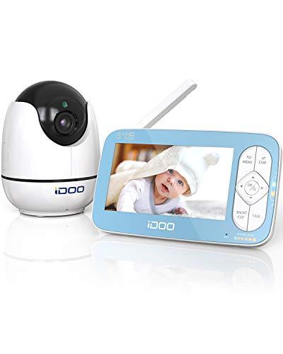 """Monitor de vídeo para bebés iDoo. Pantalla de 5"""" HD a 720p con cámara y sonido. Zoom remoto. Comunicación bidireccional. Visión nocturna. Reproductor de canciones de cuna. Alcance de 270m"""
