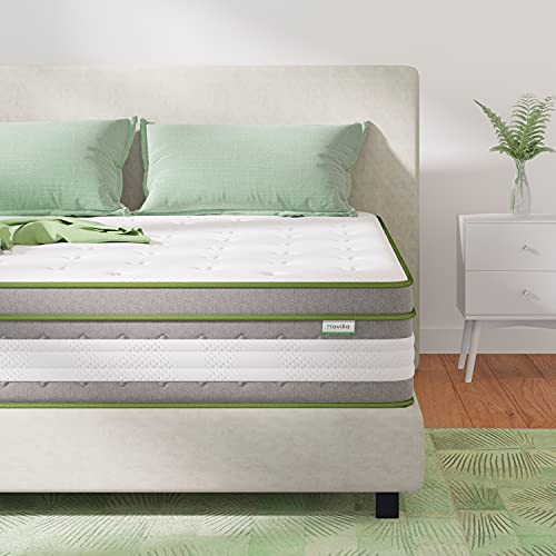 Queen Size Mattress, Novilla 12 Inch Hybrid Pillow Top Queen Mattress in a Box with Gel Memory Foam & Individually Wrapped Pocket Coils Innerspring for a Cool & Peaceful Sleep