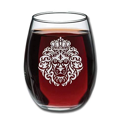 Bohohobo Libbey Weinglas ohne Stiel, König Löwe, 350 ml, Weinglas für Rot- und Weißwein, spülmaschinenfest, herzwärmender Geschenk für Hochzeit, Weiß, 350 ml