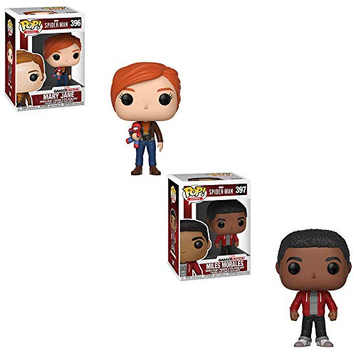Funko POP! Games Marvel Comics Gamer Verse Spider-Man Game: Mary Jane with Spider-Man Doll and Miles Morales Bobble-Head Toy Action Figures - 2 POP Bundle