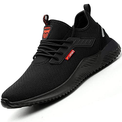 Zapatos De Seguridad para Hombre Hombre Mujer Botas de Seguridad con Puntera De Acero Zapatos Zapatos de Trabajo Zapatos De Seguridad para Hombre Negro 41 EU