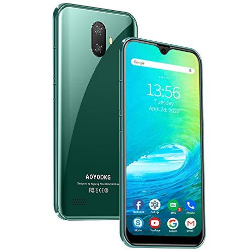 Smartphone ohne Vertrag Günstig - Waterdrop 5,5 Zoll Android 9.0 (Go) Handy 3GB + 32GB, 4G DUAL SIM Handy, Quad-Core 5MP + 8MP Dual Rückkamera, GPS, Global Version, Grün