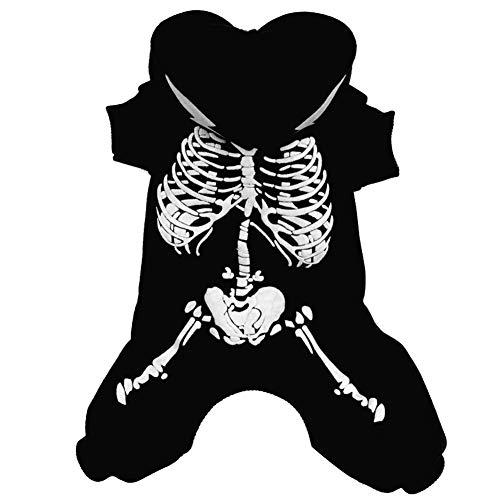 Qianren Disfraz de Perro Mascota de Halloween Horror Luminoso Ropa de Esqueleto Diseño de Botones Sudaderas con Capucha para Perros pequeños medianos Grandes (Rojo XL)