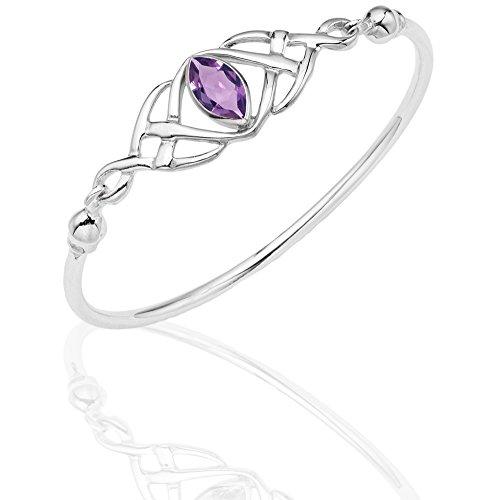 DTPsilver -Damen Armreif/Armbänder 925 Sterling Silber - Keltische Dreifaltigkeitsknoten - keltischen Kollektion - Amethyst