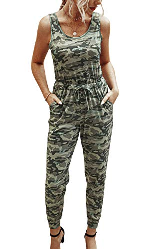 Angashion Women's Jumpsuits-Camouflage Striped Solid Casual Loose Sleeveless Elastic Waist Long Pants Rompers with Pockets398camoL