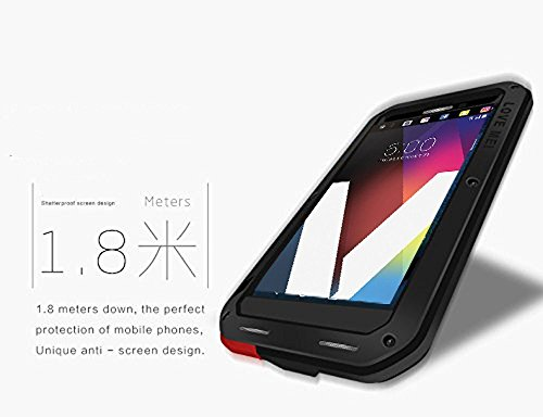 Love Mei LG V20 Case Metal Extreme Aluminum Military Heavy Duty Shockproof Water Resistant Dust/Dirt/Snow Proof Gorilla Glass Protection Case Cover for LG V20 (Black)