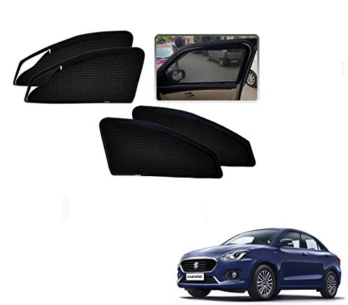 Auto Addict Car Zipper Magnetic Sunshades Set of 4 Pcs (2 Zip,2 Non-Zip) for Maruti Suzuki Swift Dzire New 2020
