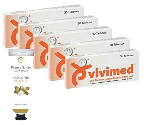 Vivimed mit Coffein gegen Kopfschmerzen 5 x 30 Stück Sparpackung - inkl. einer hochwertigen Handcreme o. Duschbad von Pharma Nature (Apotheken-Express)
