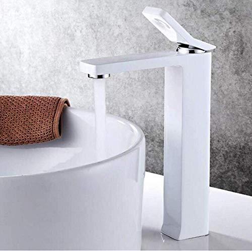 LHQ-HQ Cuadrado Innovationwater cascada lavabo mezclador blanco pintura grifo frío y caliente alto grúa