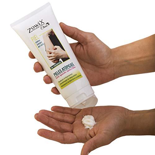 ZOWIX Crema para pieles atopicas, eczemas, psoriasis o dermatitis. Piel muy sensible, extraseca o con escamas. Crema Natural. Sin Parabenos. 200ml.