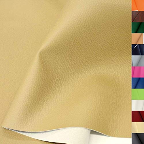 TOLKO Lederimitat mit Rindsleder Optik | weiche Premium Meterware | für Stuhl Bank Sessel Sofa Sitzbezug 140cm breit | Kunstleder Bezugstoff Polsterstoff Polsterbezug Möbelstoff (Dunkel Beige)