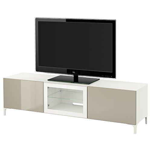 IKEA BESTA - TV-Bank mit Schubladen und Tür Weiß / selsviken hochglänzend / beige Klarglas