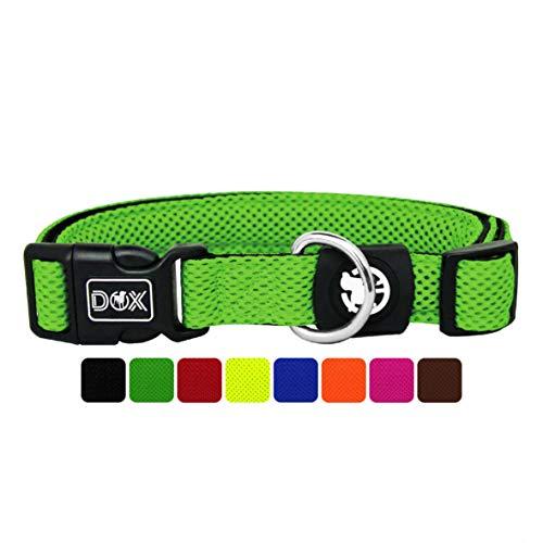 DDOXX Hundehalsband Air Mesh, verstellbar, gepolstert | viele Farben | für kleine & große Hunde | Halsband Hund Katze Welpe | Hunde-Halsbänder | Katzen-Halsband Welpen-Halsband klein | Grün, M