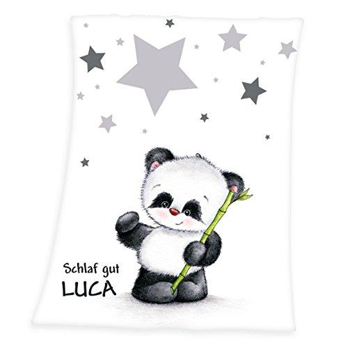 Wolimbo Flausch Babydecke mit Ihrem Wunsch-Namen und Pandabär Motiv - personalisierte/individuelle Geschenke für Babys und Kinder zur Geburt, Taufe und Geburtstag - 75x100 cm für Mädchen und Jungen
