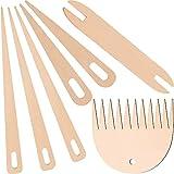 Juego de 7 palos de madera para tejer, tapicería, punto, agujas Big Eye, herramientas incluidas, 5 piezas de madera, agujas de ganchillo con palos de madera para tejer, tapicería, artesanía